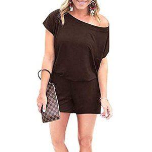 Brown Jumpsuit Short Sleeve Round Neck w/ Pockets